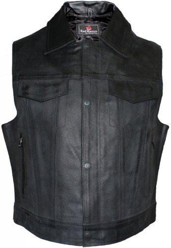 Lederhemd Motorrad Kutte Lederweste Bikerweste Motorradweste Weste schwarz, Herrengröße:60