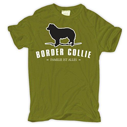 Männer und Herren T-Shirt Border Collie - Familie ist alles Moosgrün