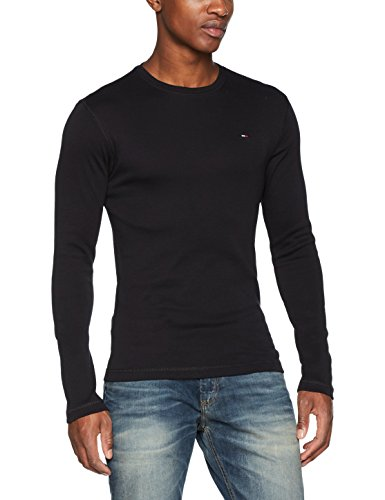 Tommy_jeans tjm original rib longsleeve tee, maglietta a maniche lunghe uomo, nero (tommy black 078), large