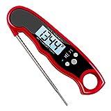 sadqwdf Digitales Fleischthermometer, wasserdicht, sofortiges Ablesen mit Kalibrierung, Hintergrundbeleuchtung rot