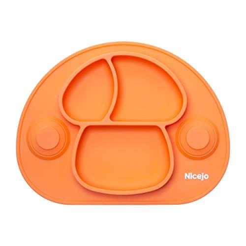 Piatto Pappa Neonato con Ventosa di 2a Generazione - Silicone Alimentare - Tovaglietta Antiscivolo Per Seggiolone - Tre Scomparti - Bambini 6 18 Mesi - Va in Lavastoviglie (Arancio)