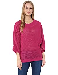 Cayman Pink Acrylic Woollen Knitted Poncho Sweater