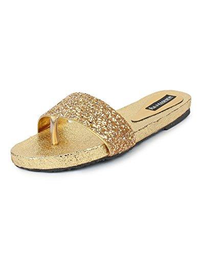 ABJ Fashion Women's New Stylish Golden Fancy Flats3UK