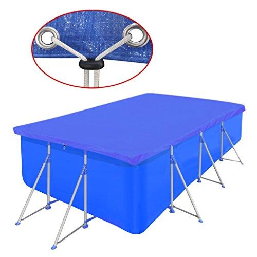 Shengtaieushop pour Piscine en PE rectangulaire 90 g/m² 394 x 207 cm résistant aux déchirures et à l'eau