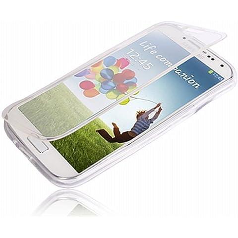 TPU Flip Case, color BLANCO translúcido, para Samsung Galaxy S4 / GT-I9500 - Línea Trendy de AQ Mobile