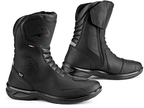 Falco - Stivali da moto Atlas, in pelle nera, impermeabili, traspiranti, con High Tex