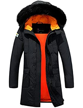 MHGAO Abajo chaqueta con capucha del abrigo de pieles del collar de los hombres largos de invierno , black , m
