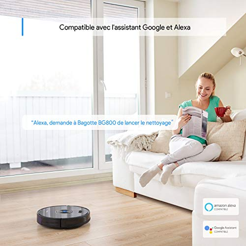 Bagotte Aspirateur Robot BG800, 2200Pa & WIFI et Cartographie, Compatible avecl'application Alexa Contrôle, Programmable, Chargement Automatique, Navigation Intelligente