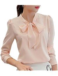 Tops Femme ADESHOP Mode FéMinine Travail Bureau Manche Longue NœUd Papillon  Mousseline De Soie Chemisier Haut 726e5e9a7873
