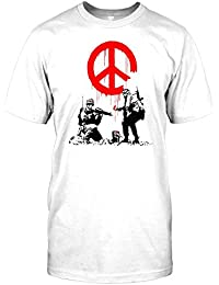 Banksy - Soldiers Painting Peace - Urban Art Mens T Shirt - Funny