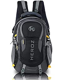 HEROZ Hammer Unisex Nylon 45 L Travel Laptop Backpack Water Resistant Slim Durable Fits Up to 17.3 Inch Laptop Notebook (All) (Grey & Black)
