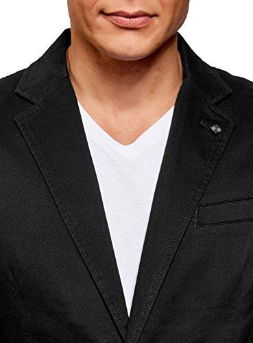 oodji Ultra Herren Taillierter Blazer mit Seitentaschen Schwarz (2900N)