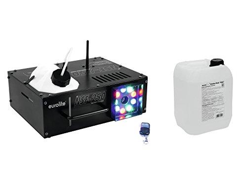Set aus 2 x Nebelmaschine NSF250 230V / 1080W, Aufwärmzeit 180s, ca 800m³ Nebel/Min. - RGB Licht + 5L Fluid geringe Standzeit und hohe Dichte - Farbige Nebel Maschine für (Watt Nebelmaschine 1000)