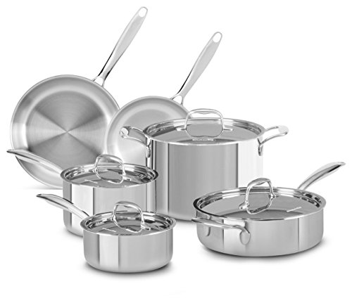 KitchenAid KCTS10SLST Tri-Ply Stainless Steel 10-Piece Cookware Set - Stainless Steel by KitchenAid