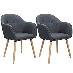WOLTU Esszimmerstühle BH94dbl-2 2er Set Küchenstuhl Wohnzimmerstuhl Polsterstuhl Design Stuhl mit Armlehne, Sitzfläche…