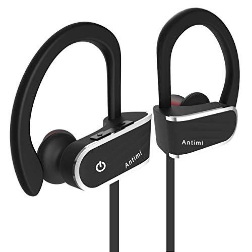 Bluetooth Kopfhörer, Antimi Bluetooth 4.1 Kopfhörer IPX7 Wasserdicht Stereo In-Ohr-Ohrhörer CVC6.0 Geräuschunterdrückung Sichere Passform Headset mit Mikrofon für Sport (Schwarz)
