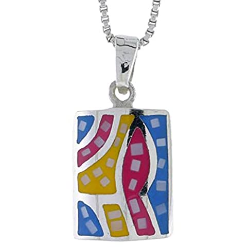 Revoni Sterling Silver Rectangular Shell Pendant, w/ Colorful Mother of Pearl inlay, 3/4