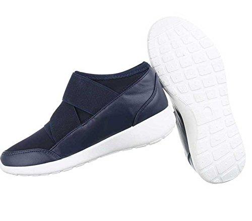 Femininos Velcro Escuro Casuais Sapatos Sapatos Preto Azul xwd76OR