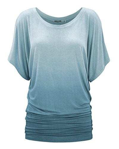 Smile YKK Rundhlas Damen Sommer Herbst Basic T-Shirts Tunika Tank Oberteil Casual Shirts Pullover Kurzarm Azurblau