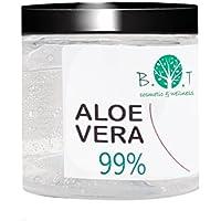 Gel di Aloe Vera Fresca 99% 200 ml. Doposole, Antibatterico, Antisettico, Idratante, Dopobarba. Aiuta in caso di Prurito del Cuoio Capelluto, Forfora, Acne, Cicatrici, Pelle Secca