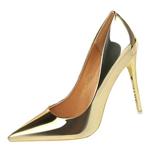 HILOTU Zapatos de tacón Alto para Mujer Zapatos sin Cordones Punta Puntiaguda...
