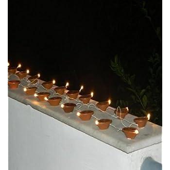 AR Eyewar Electric Golden Diya Rice Light Lamp (White)