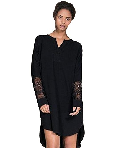 SaiDeng Femmes V Cou Plus Taille En Vrac Robe Noir