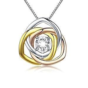 925 Sterling Silber Rose Anhänger drei Farben Halskette Schmuck für Frauen Mädchen