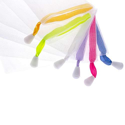 SIDCO 5 x Seifennetz Seifenbeutel für Seifenreste Massage Seifensäckchen bunt