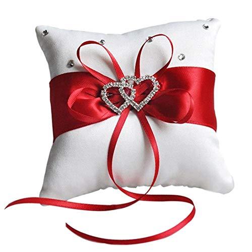 Tammy Yerkes Einzigartige Ring Kissen Bogen für Hochzeitsfeier Ring Kissen doppel Herz Ring Kissen (Bogen-kissen)