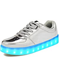 LeKuni Unisex LED Schuhe Leuchtschuhe 2017 Verbesserung 7 Farbe Blinkende Leuchtende Light Up Low Top Sneakers(Größe 25- 43)
