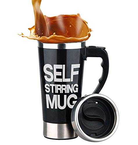 Mengshen Self Stirring Coffee Mug/Tazza con Miscelatore Portable Lazy Auto Mixing Tea Coffee Cup Office Home Outdoor Gift 450ml, A008A Black