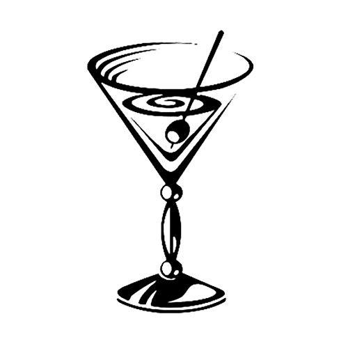 8,8 cm * 14,9 cm Alkohol Cocktail Glas Party Decor Auto Aufkleber Vinyl Schwarz/Silber/3PCS (Machen Halloween-cocktails Leicht Zu)