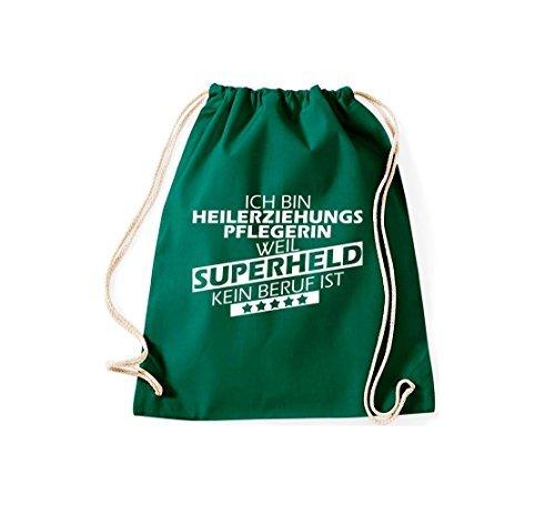 shirtstown BORSA PALESTRA Ich bin heilerziehungspflegerin, WEIL supereroe NESSUN occupazione è Verde