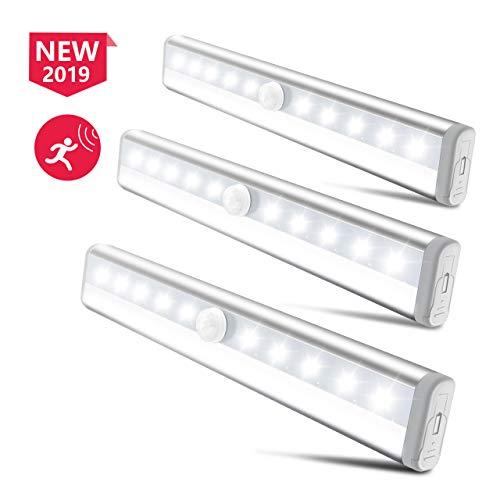 Nachtlicht Bewegungsmelder, Schrankleuchte LED mit 10 Lampen Batteriebetrieb, Kleiderschrank Lampen Küchenlampen, Auto ON/OFF für Küche, Kinderzimmer, Flur, Korridor, Garderobe, Treppe usw. -Weiß