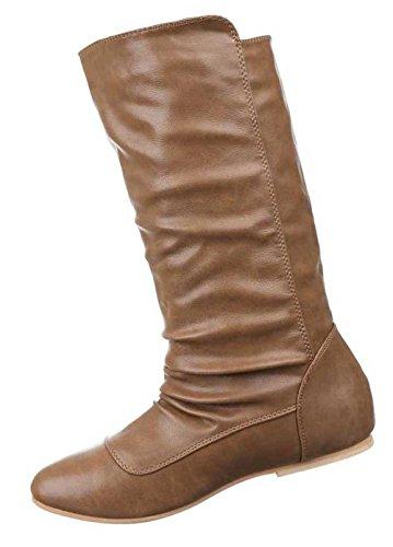 Damen Stiefel Schuhe Warm Gefütterte Schwarz Camel