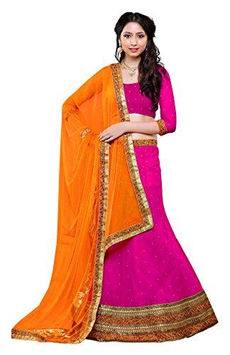 Gajiwala Sarees Women's Net Lehenga Choli (Pink and Orange)