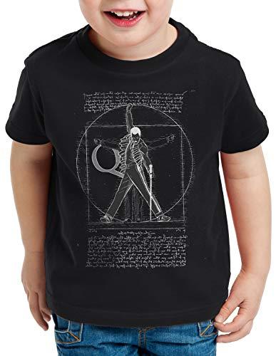 style3 Freddie de Vitruvio Camiseta para Niños T-Shirt da Vinci Live Rock You Festival, Color:Negro, Talla:104
