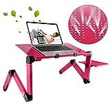 universal Supporto da scrivania Pieghevole Portatile da 360Gradi con Lega di Alluminio Pieghevole e Tappetino per Mouse per Laptop/Notebook, Senza ventole di CPU