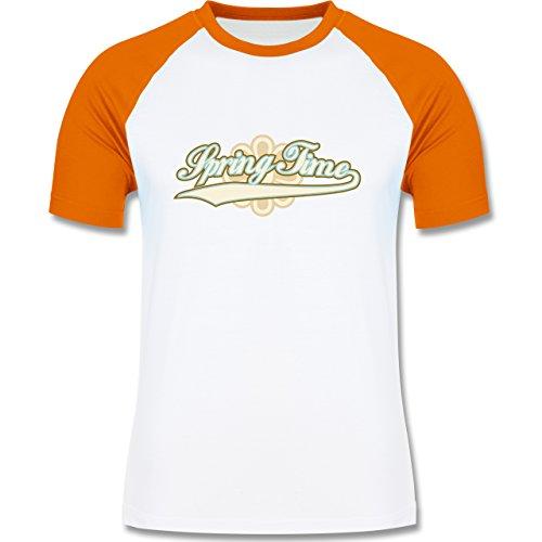 Urlaub - Spring Time - zweifarbiges Baseballshirt für Männer Weiß/Orange