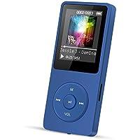 """AGPTEK ® Ultra-Longue autonomie en Veille jusqu'à 70 Heures Lecteur MP3 avec Ecran de 1.8"""" (Soutien la Carte mémoire de 64Go), Bleu foncé"""