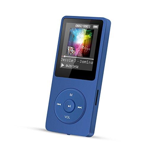 """AGPTEK A02 Reproductor de MP3 8 GB Pantalla de 1,8"""" con Radio y grabadora de Voz, Súper duración de radiación 70 Horas, Azul"""