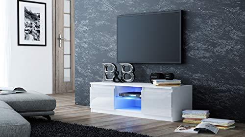 Meuble de TV moderne, LED bleues, 120 cm, pour écran de 55\