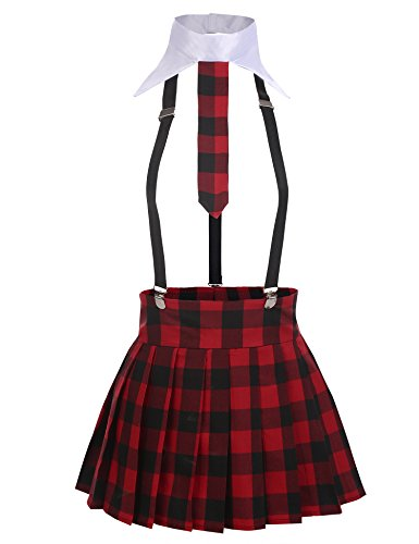 Avidlove Damen Sexy Schulmädchen Kostüm mit Krawatte Minirock Ouvert Babydolls Cosplay Uniform Dessous Set Halloween Kostüm Rot M