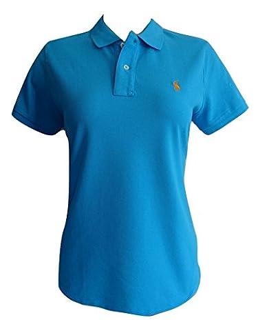 Ralph Lauren Polo Shirt Ladies Skinny Fit Solid Mesh (L, Medium Blue (Orange Logo))