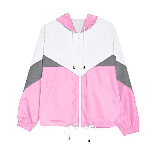 VEMOW Herbst Winter Damen Frauen Langarm Patchwork Dünne Skins Suits mit Kapuze Reißverschluss Taschen Casual Täglichen Freien Sport Mantel(Z4-Rosa, EU-44/CN-XL)