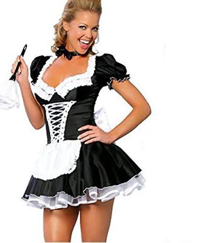 Schwarz Sexy Kostüm, Magd Rollenspiel, Kostümparty, Party Verkleiden Sich Kostüm, Damen Große Größe - Schwarz Für Erwachsene Sexy Kostüm