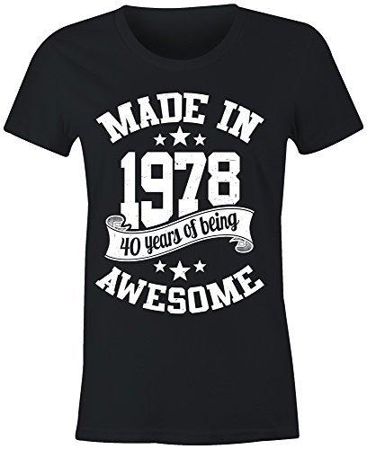 femmes fabriqué en 1978 40 Years of Being EXCELLENT T shirt - Noir, Medium