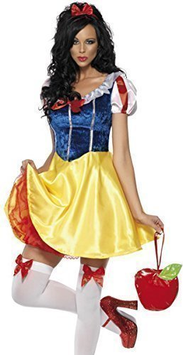 Damen Sexy Schneewittchen Prinzessin Büchertag Woche Märchen Junggesellinnenabschied Halloween Party Kostüm Verkleidung Outfit UK 4-18 - Multicolore, Multi, (Märchen Sexy Outfit)