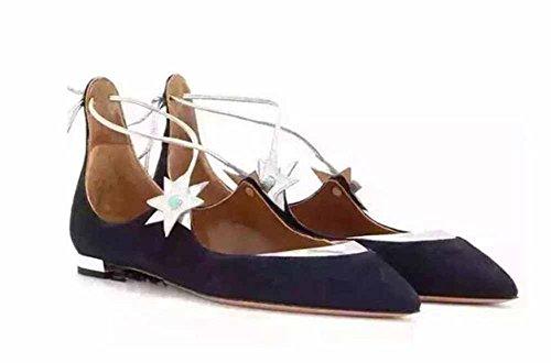 Sandalias De Punta Estrecha De Mujer Glter 2017 Zapatos Planos De Otoño Nueva Correa De Anillo Azul